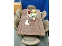 💖💖MARVELLOUS LOUIS VUITTON👌👌 EXTENDABLE GLASS DINING SET WITH FABRIC CHAIRS!! GRAB NOW