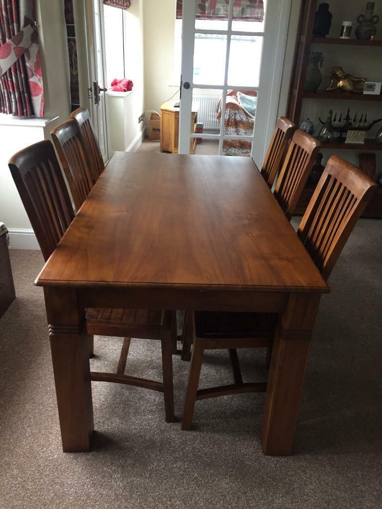 Large Indonesian Dining Room Table With 6 Chairs