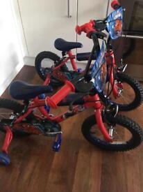 Two 14'' Spider-Man bikes