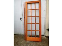 MAGNET MAHOGANY SOLID WOOD INTERNAL DOOR WITH 15 PANES OF GLASS