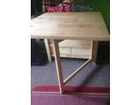 kitchen / dining table: seats 4-6, IKEA, solid wood, gateleg. Comes with 2 folding wooden chairs