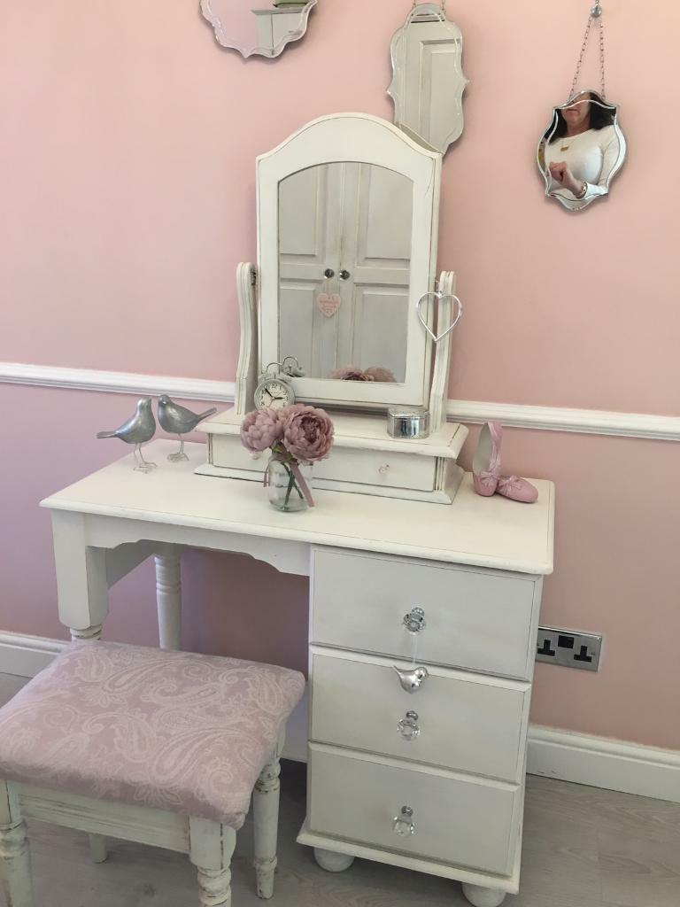 Mirror And Painted Bedside Table: Shabby Chic Dressing Table Mirror And Matching Bedside