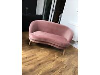 GERTIE TWO SEATER SOFA IN VINTAGE PINK COTTON VELVET - RRP £399
