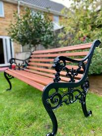 Vintage Lionhead cast iron garden patio bench 3 seater