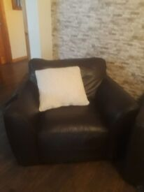 brown leather sofa and single chair for sale