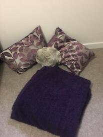 Purple Cushions and Throw