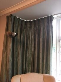 Sage Green Silk Curtains. Lined and Interlined. Hand made.