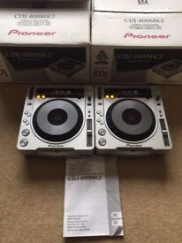 2 X Pioneer CDJ 800 MK2 With Original Boxes, Instructions & Power Cables