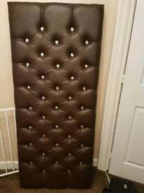 FAUX LEATHER DIAMANTE HEADBOARD