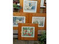 "Set of 4 ""Four Seasons Teddy Bears"" limited edition prints by David Osborne Hughes"