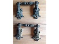A Pair of Solid Antique Brass Drawer Handles