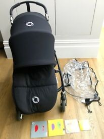 Bugaboo Bee 3 All Black Limited Edition Pushchair Buggy with Extras - Footmuff, Raincover, Manuals