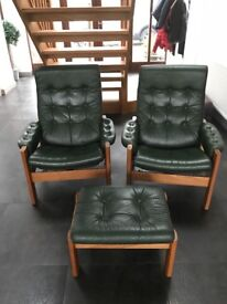 Vintage danish LeAther chairs x2 +foot stool