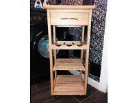 Butcher block kitchen trolley wine rack