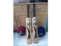 Slazenger Bats and 2 Helmets