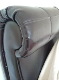 Super Kingsize leather sleigh bed