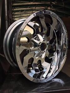 New CHROME HEAVY DUTY 20x10 -24 WHEELS!! 8x165 DODGE RAM CHEVY GMC 2500 3500 - 1012