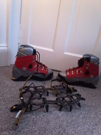Koflach Degree plastic climbing boots (size 13) plus Charlet Moser Super 12 step-in crampons