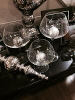 Decorative glass vases for sale.