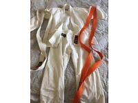 Karate suit with white and orange belt size 130cm