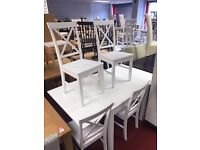 White Extendable table and 6 wooden chairs crossback