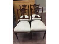 Set of 4 carved antique dining chairs