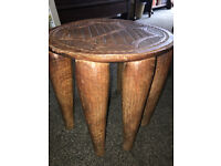 Gorgeous Antique Carved African Nupe Tribe Elephant Stool Low Bench/Seat