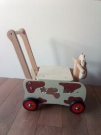 Lovely wooden walker / ride-on cow PERFECT CONDITION