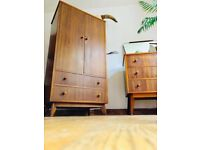 Mid century vintage retro bedroom furniture wardrobe drawers