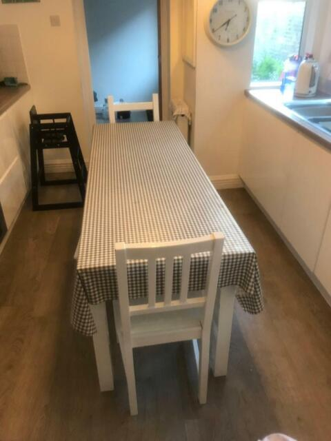 Long Narrow Kitchen Table 4 Stools And 2 Kitchen White High Gloss Finish In Carlisle Cumbria Gumtree