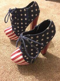 Size 3 American Flag style platform heels