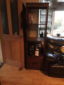 Solid wood bookcase with 2 drawers