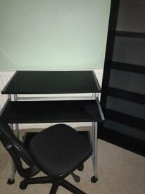 Desk, chair and 5 shelf bookcase
