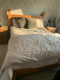 Pine king size bed, 2 side tables and dressing table