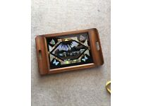 """Antique Vintage Wooden/Glass Buenos Aires Argentina Drinks Tray 14"""" x 22"""""""