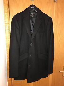 Gents Next Italian wool black overcoat