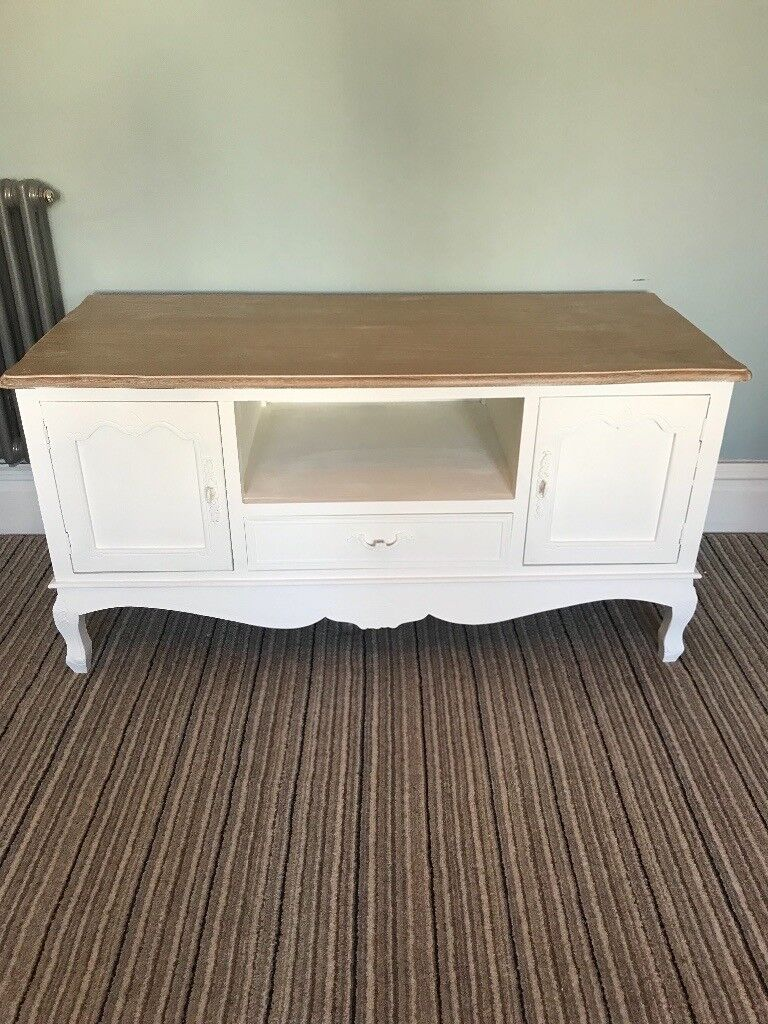 French wooden tv media unit television table laura ashley cotton white 2 cupboards and drawer