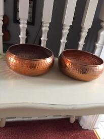 Two copper effect bowls planters plant pots or trinket dishes