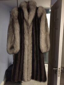 Vintage Long Fur Coat Fox & Raccoon