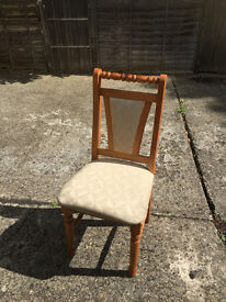 Offer for sale 6 solid pine wood dining chair would need reupholstering