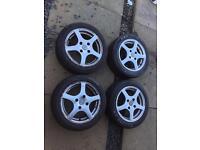 "15"" Fox Alloy Wheels & Tyres 4 x 114.3 pcd 6j 4mm tread"