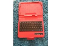 Red tablet case with keyboard