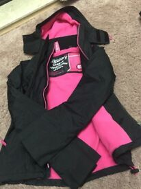 Used Superdry Jacket Hooded Arctic Windcheater - Black/Punk Pink Size XS