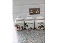 A set of 3 ceramic country style storage jars by NORITAKE Melba. Made in England