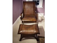 Armchair and Matching Footstool Solid Teak with Stitched Leather Upholstery