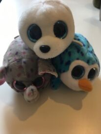 3 small soft toy animals