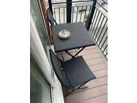 Outside seating and table.