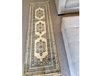 Brand new Man Made Silk Tabriz Traditional Rug Runner Beige Multi Coloured 65 x 210 cms