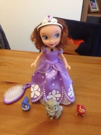 Sofia the first talking doll with animal figures