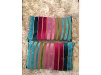 Velvet stripe rainbow decoration cushions -almost new rrp £18